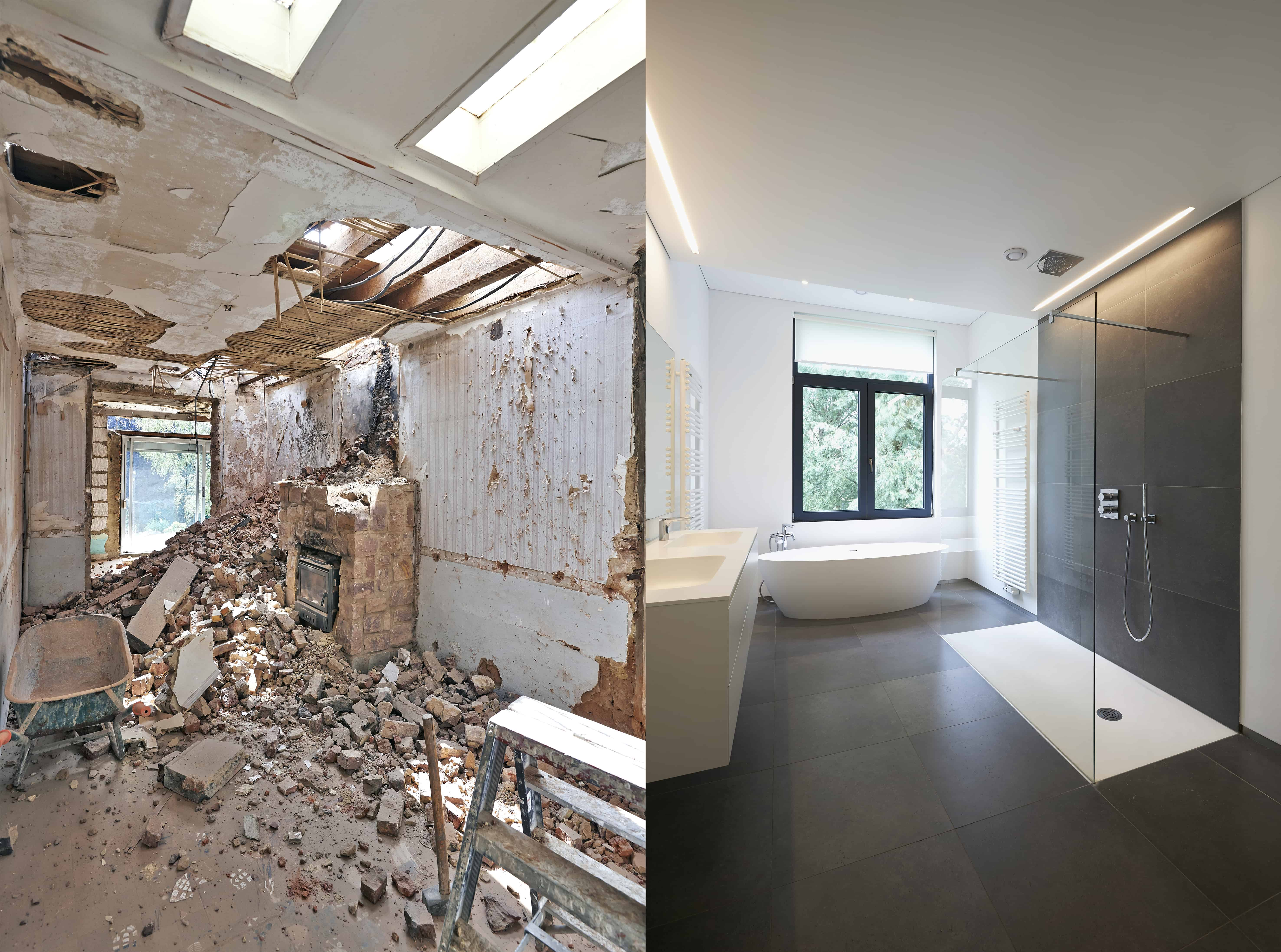 Bathroom remodel before and after by Badger Handyman