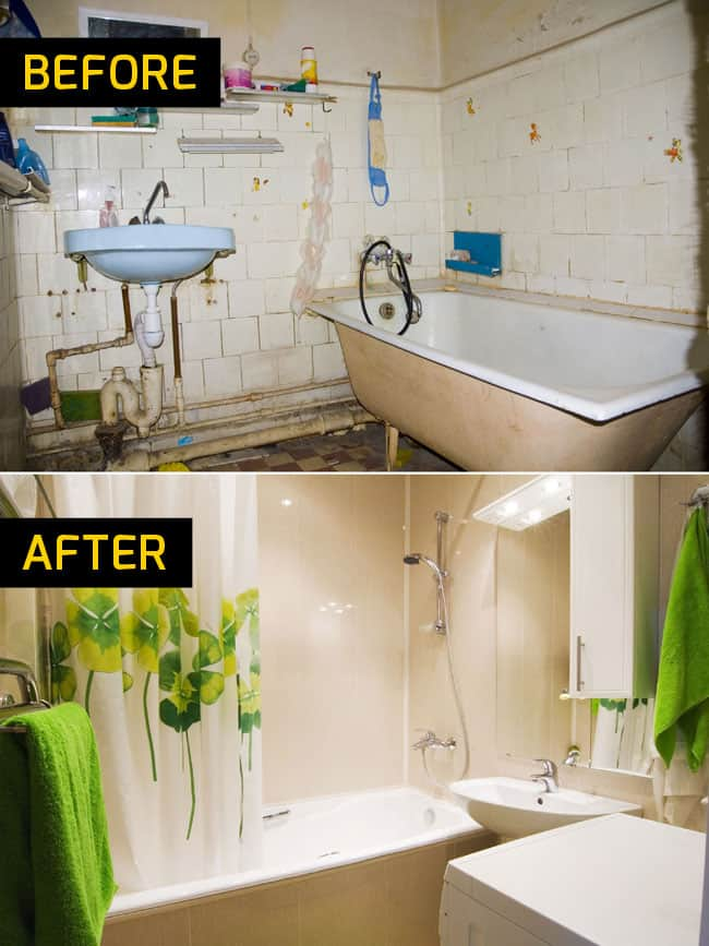 bathroom remodel before and after Badger Handyman Madison WI