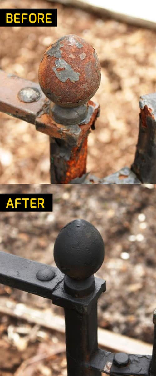 Removing rust & repainting deck fence in Elanora Queensland