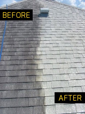 Before & after pressure washing roof in Madison, WI