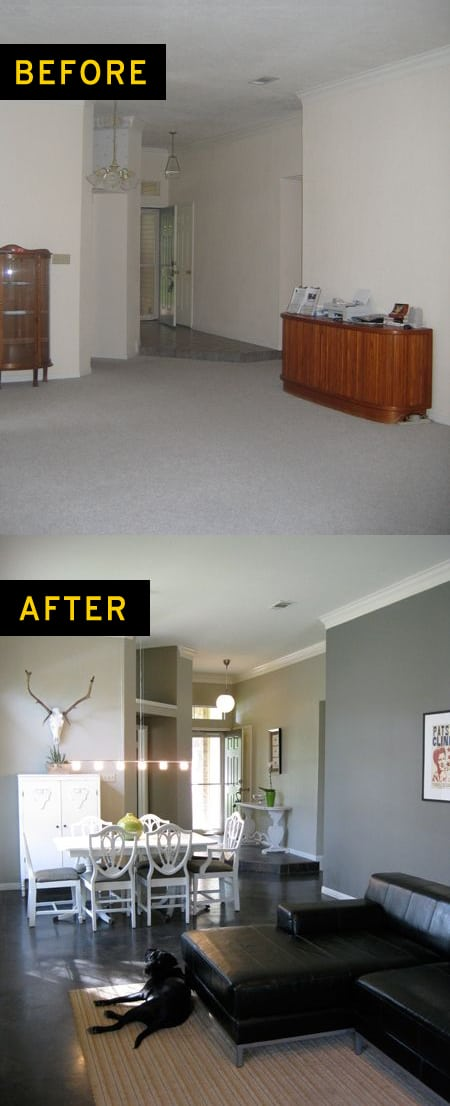 Living room house painting before and after photo - Palm Beach Queensland